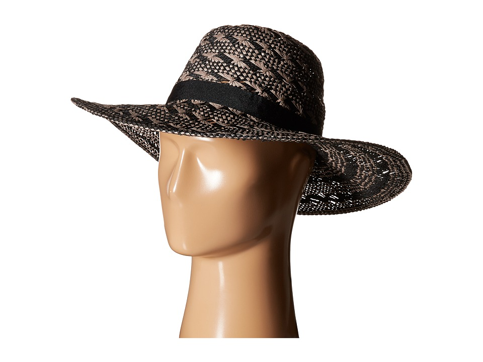 Steve Madden - Floppy Woven Two-Tone Hat (Black) Traditional Hats