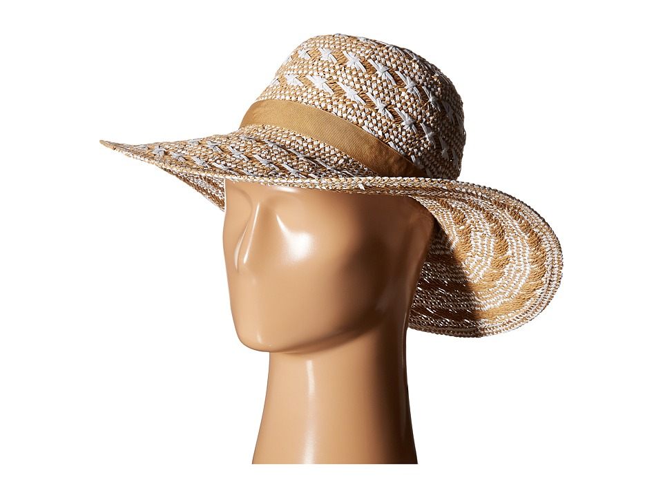 Steve Madden - Floppy Woven Two-Tone Hat (Ivory) Traditional Hats