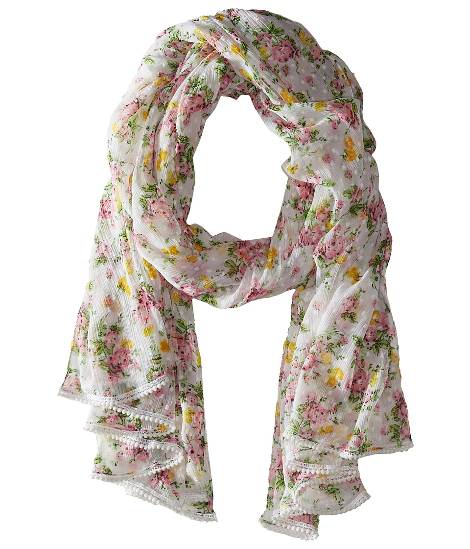 Betsey Johnson - Flower Bomb Wrap (White) Scarves