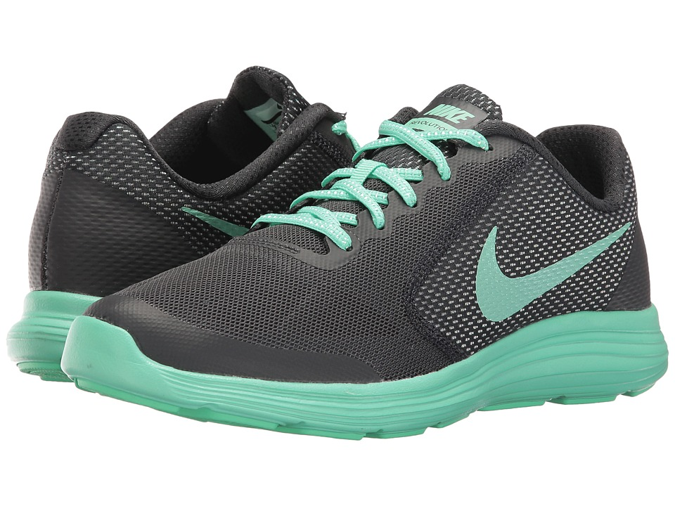 Nike Kids - Revolution 3 SE (Big Kid) (Anthracite/Green Glow) Girls Shoes