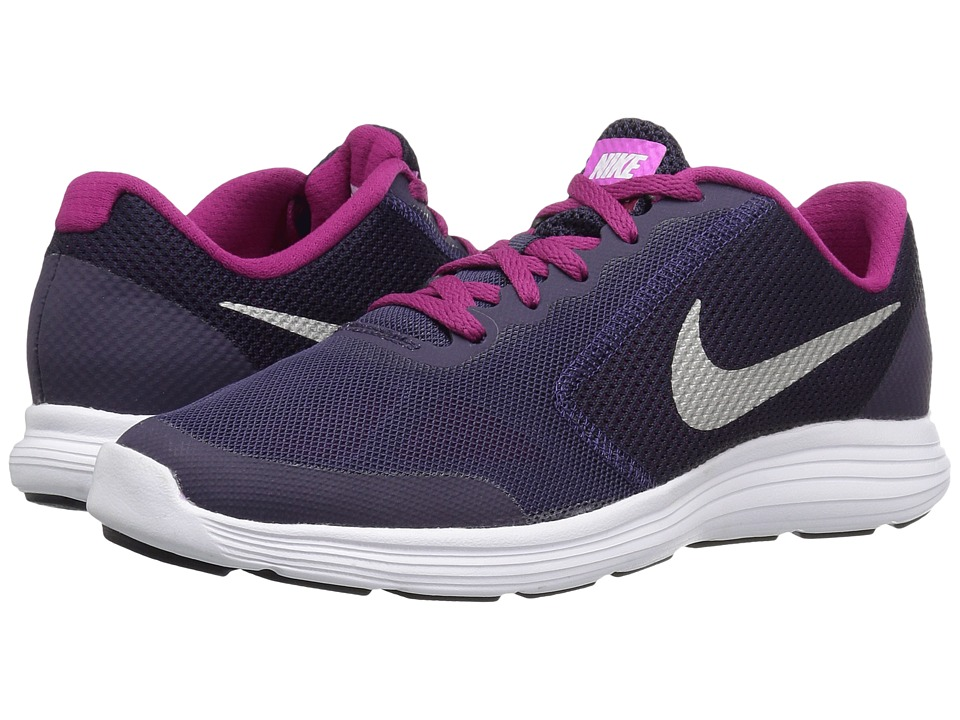 Nike Kids - Revolution 3 (Big Kid) (Purple Dynasty/Dynamic Berry/Fire Pink/Metallic Silver) Girls Shoes