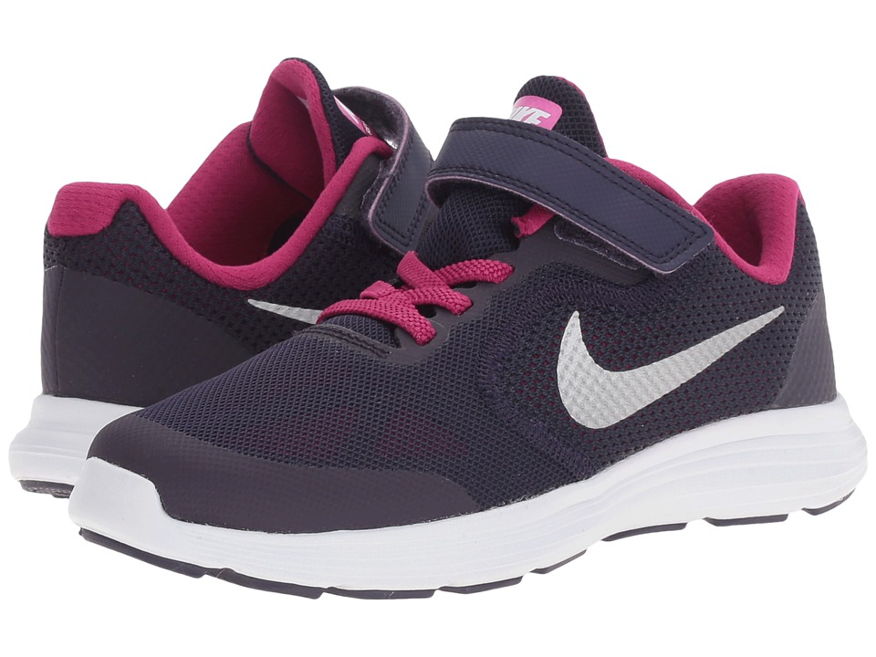 Nike Kids - Revolution 3 (Little Kid) (Purple Dynasty/Dynamic Berry/Fire Pink/Metallic Silver) Girls Shoes