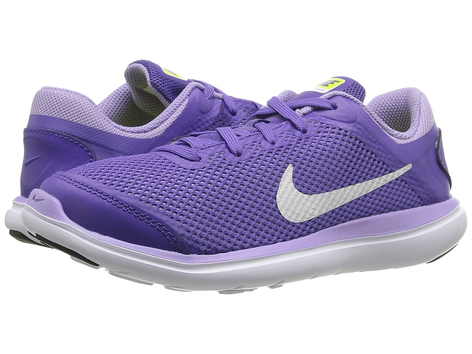 Nike Kids - Flex 2016 RN (Little Kid) (Dark Iris/Urban Lilac/Volt/Metallic Silver) Girls Shoes