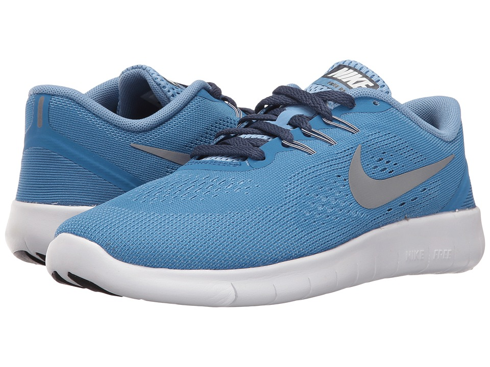 Nike Kids - Free RN (Big Kid) (Star Blue/Light Blue/Midnight Navy/Metallic Silver) Girls Shoes