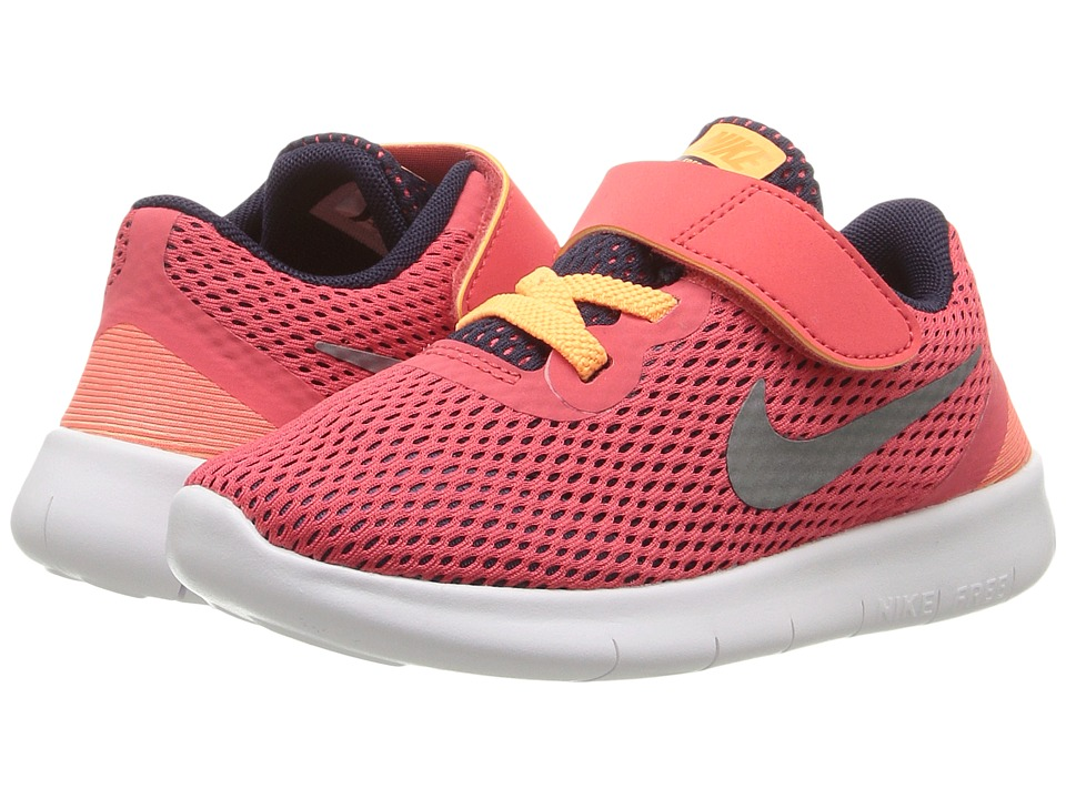 Nike Kids - Free RN (Infant/Toddler) (Ember Glow/Purple Dynasty/Peach Cream/Metallic Silver) Girls Shoes
