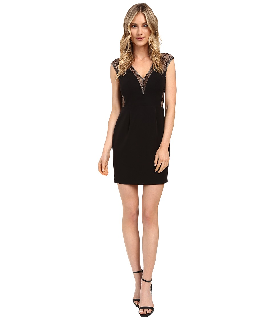 Aidan Mattox Lace and Crepe Cocktail Dress (Black) Women
