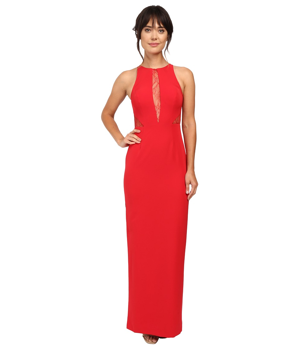 Aidan Mattox Crepe Gown w/ Lace Back and Lace Insets (Red) Women