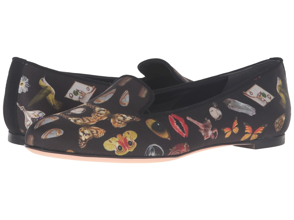 Alexander McQueen - Scarpa Pelle S.Cuoio (Black/Multi Cocktail Print/Black) Women's Shoes