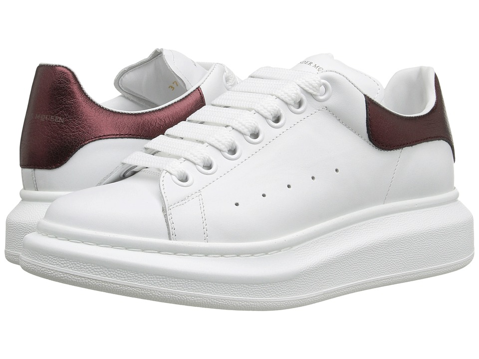 Alexander McQueen - Sneaker Pelle S.Gomm (White/Light Oxblood) Women's Lace up casual Shoes