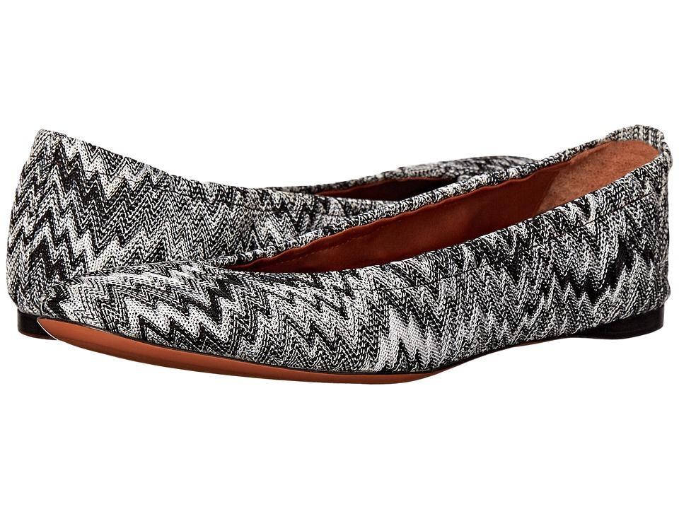 Missoni Scrunch Ballet Flat Nero-Bianco Womens Flat Shoes