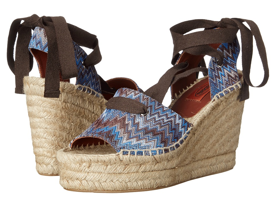 Missoni Ribbon Wedge Espadrille (Cobalto) Women
