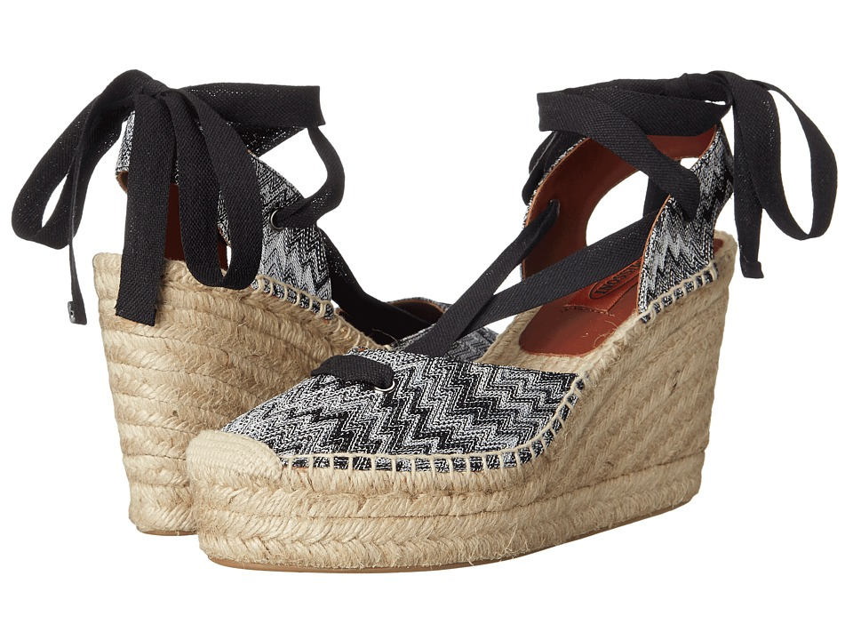 Missoni - Ribbon Wedge Espadrille (Nero/Bianco) Women's Wedge Shoes