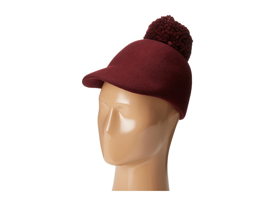 BCBGMAXAZRIA - Winter Pom Baseball Hat (Merlot) Baseball Caps