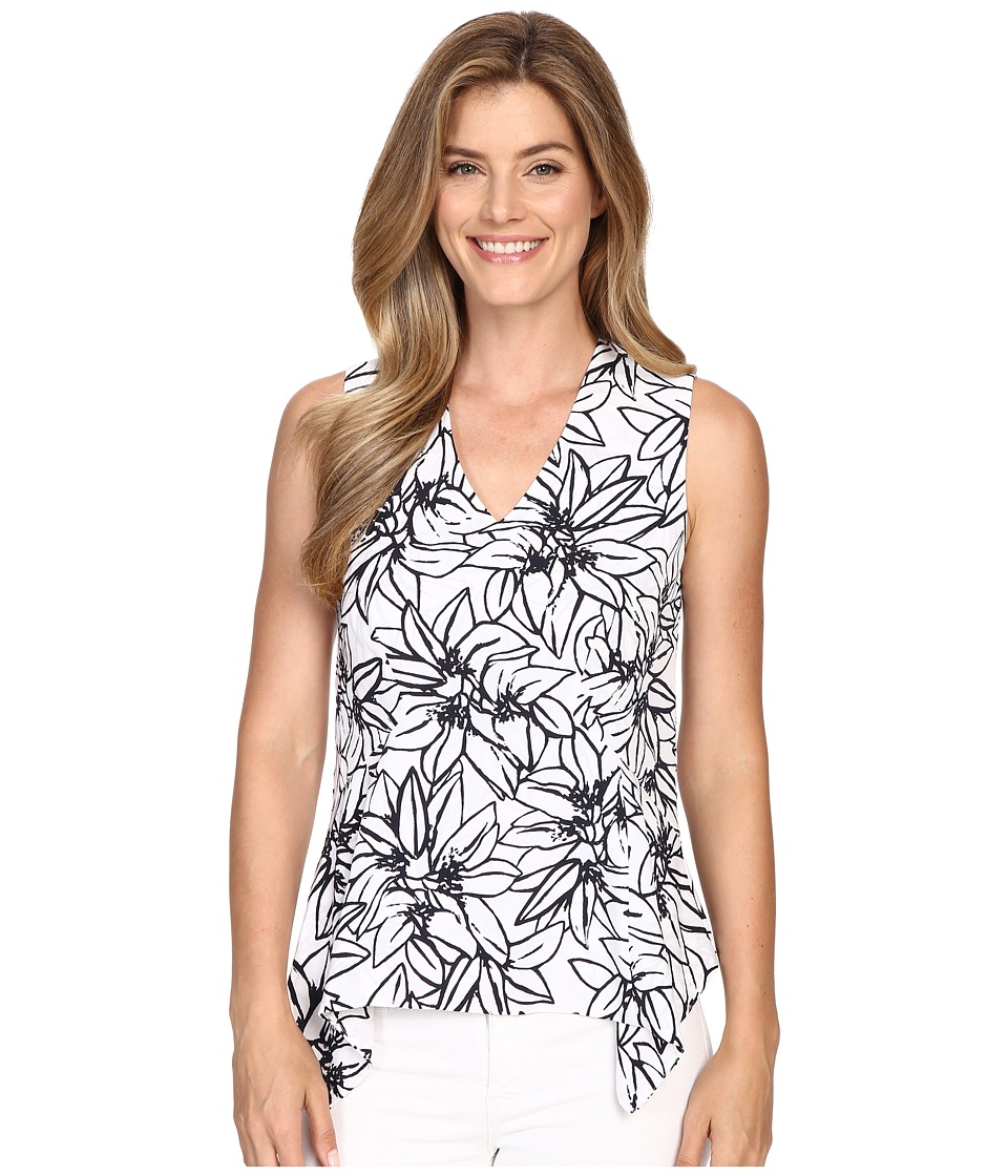 Ellen Tracy - Handkerchief Peplum Shell (Verona Floral Navy) Women's Clothing
