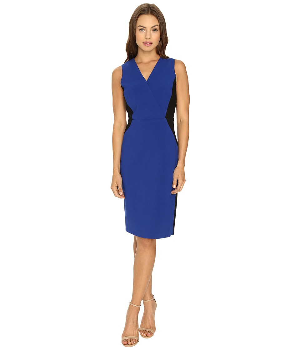 Ellen Tracy - Color Block Wrap Sheath (Cobalt) Women's Dress