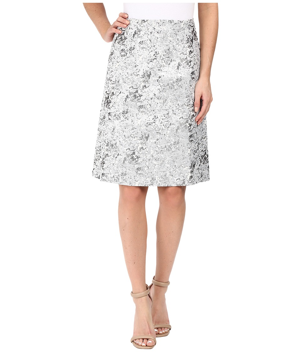 Ellen Tracy A-Line Skirt (Silver Metallic) Women