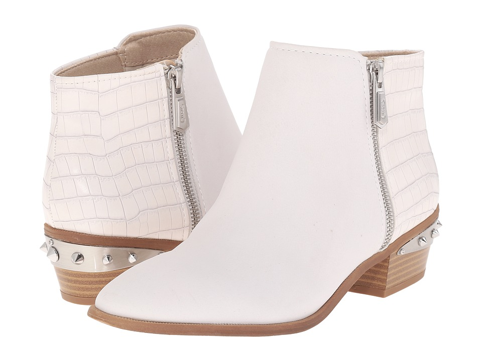 Circus by Sam Edelman Holt White Gobi Leather-Mini Croco Womens Zip Boots