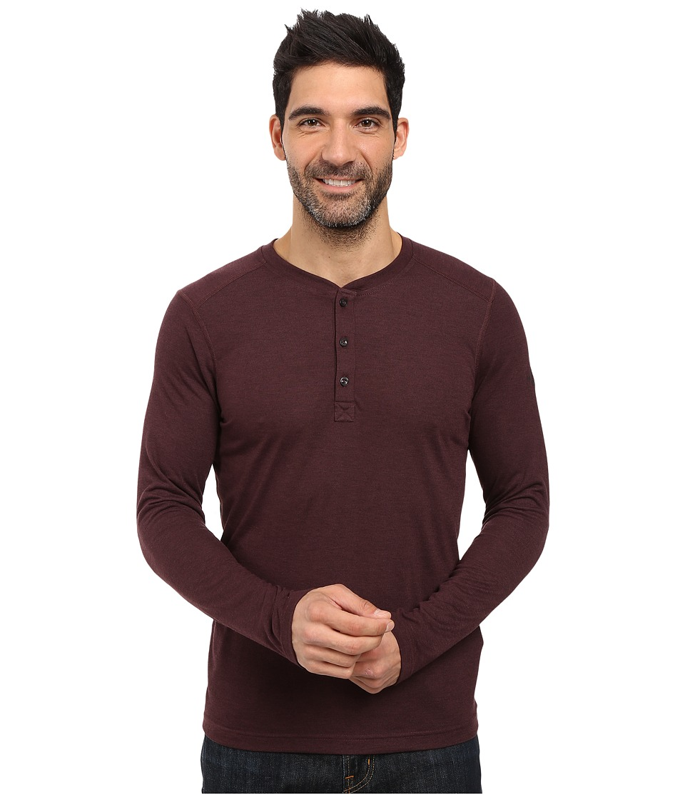 The North Face - Long Sleeve Crag Henley (Root Brown Dark Heather) Men's Clothing