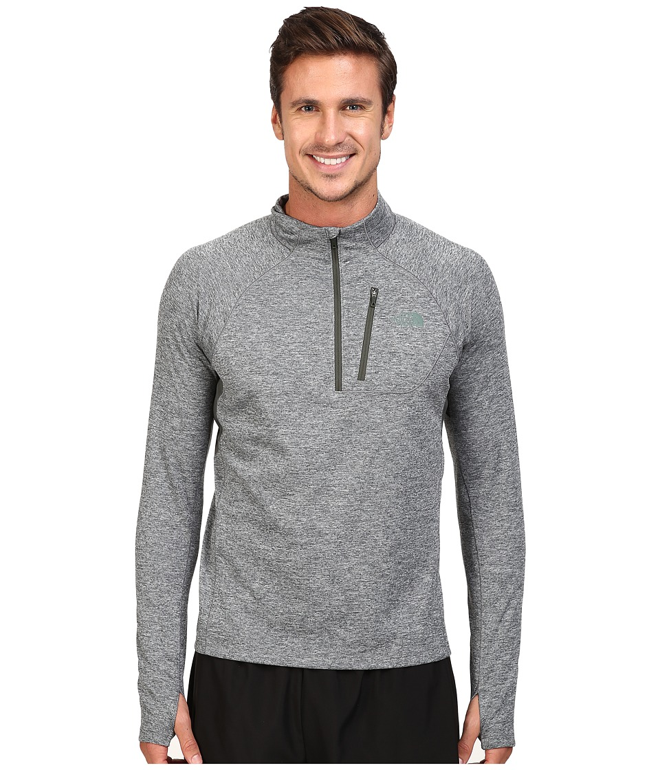 The North Face - Impulse Active 1/4 Zip Pullover (TNF Medium Grey Heather/Climbing Ivy Green Heather) Men's Long Sleeve Pullover