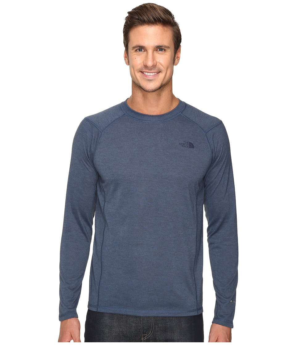 The North Face - Long Sleeve FlashDry Crew (Shady Blue/Black Heather) Men's Sweatshirt