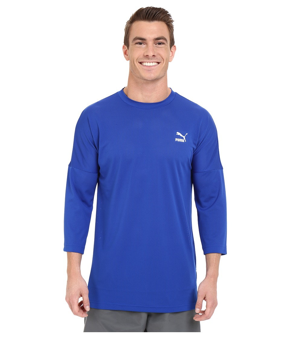 PUMA - Evo Mesh 3/4 Sleeve Top (Surf The Web) Men's Long Sleeve Pullover
