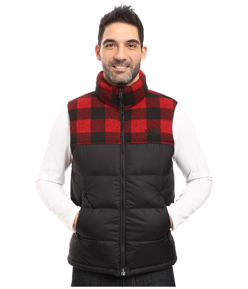 The North Face Nuptse Vest (TNF Black/Cardinal Red Grizzly Print) Men