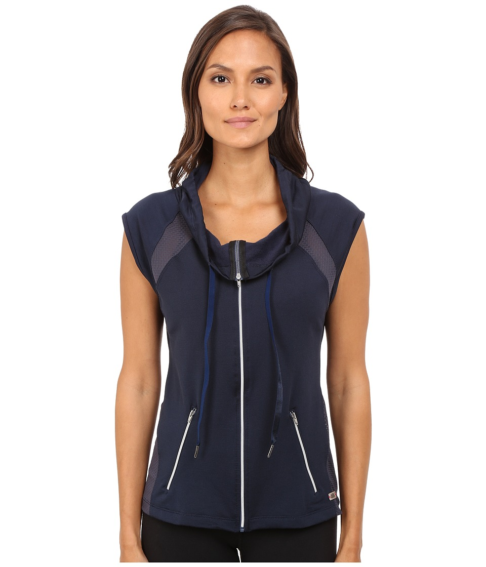 Pink Lotus - Midnight Run Cool It Down Zip-Up Hooded Vest w/ Contrast Detail (Cement) Women's Workout