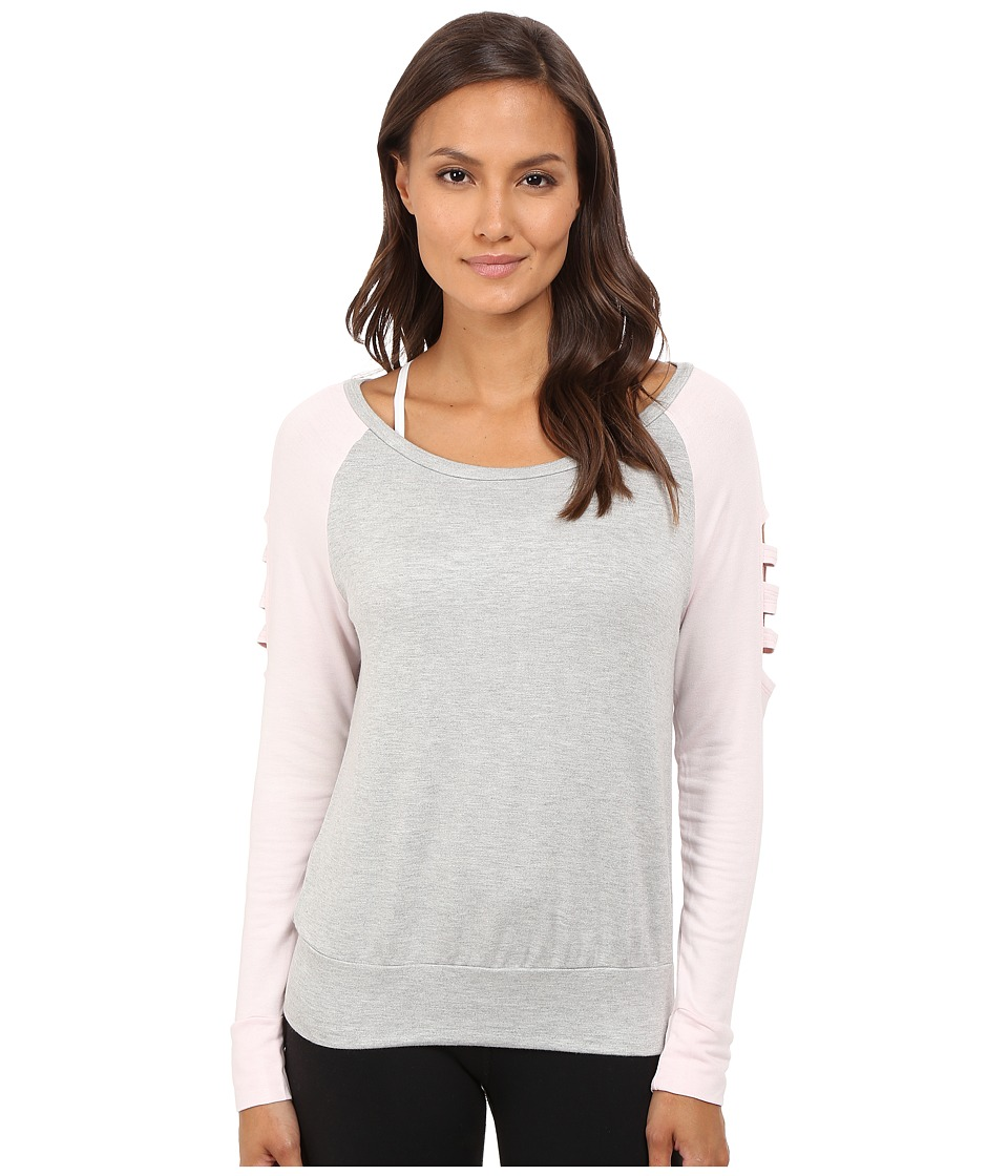 Pink Lotus - Off Beat Turnout Scoop Neck Contrast Sweater w/ Sleeve Detail (Heathered Gray) Women's Long Sleeve Pullover