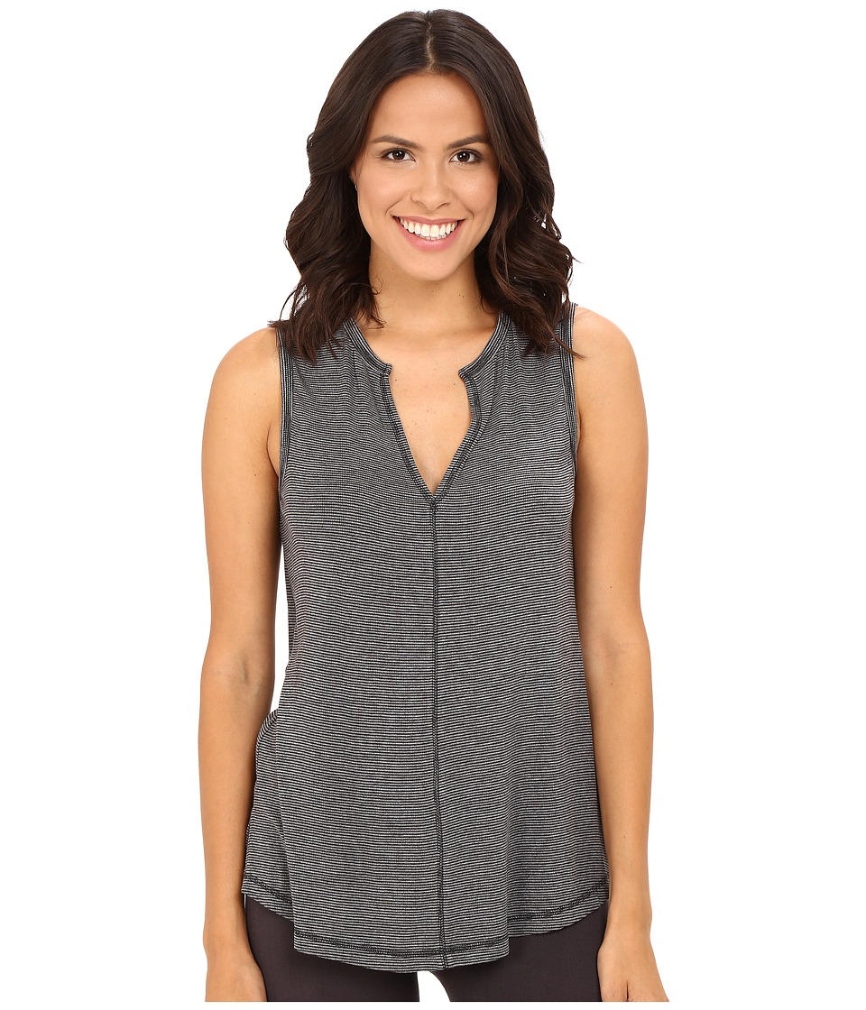 Midnight by Carole Hochman - Lounge Sleeveless Top (Black/Stone Heather Stripe) Women's Pajama