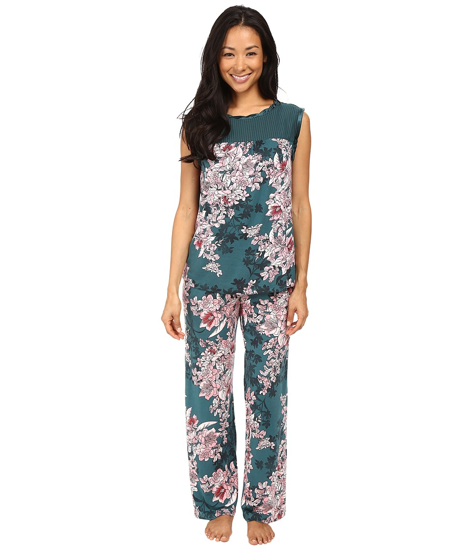 Midnight by Carole Hochman - Chiffon Checkerboard Pajama (Bouquet) Women's Pajama Sets