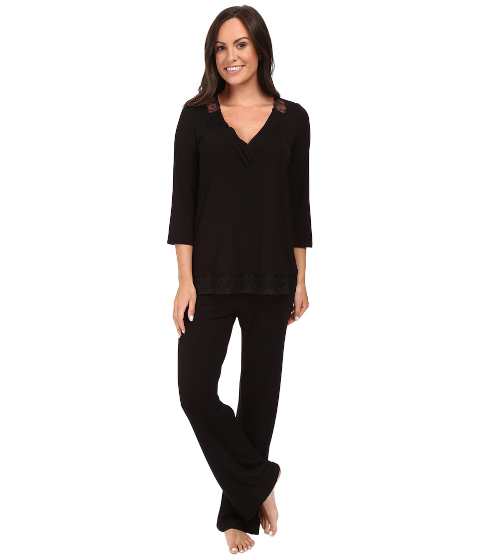 Midnight by Carole Hochman - Modal Long Pajama (Black) Women's Pajama Sets