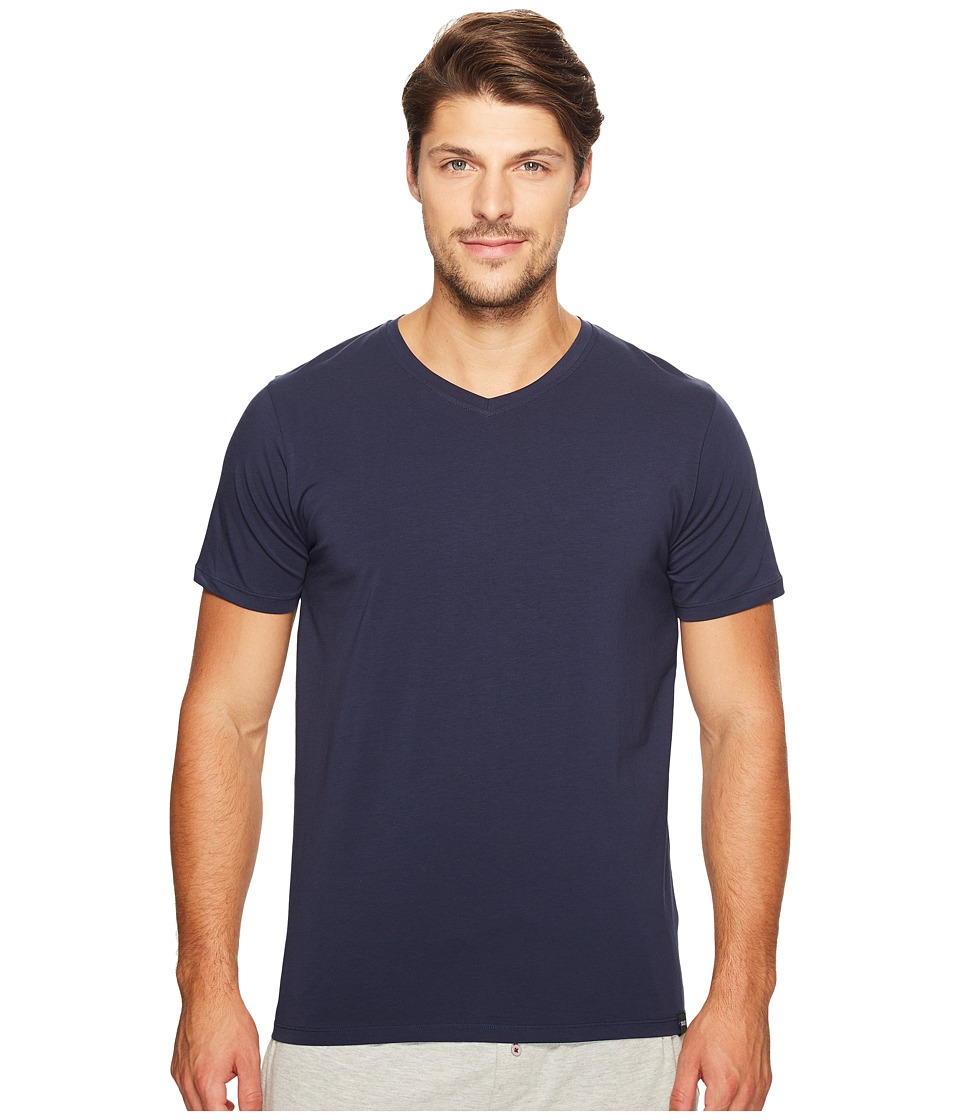 SAXX UNDERWEAR - 3SIX FIVE Short Sleeve V-Neck T-Shirt (Navy) Men's Underwear