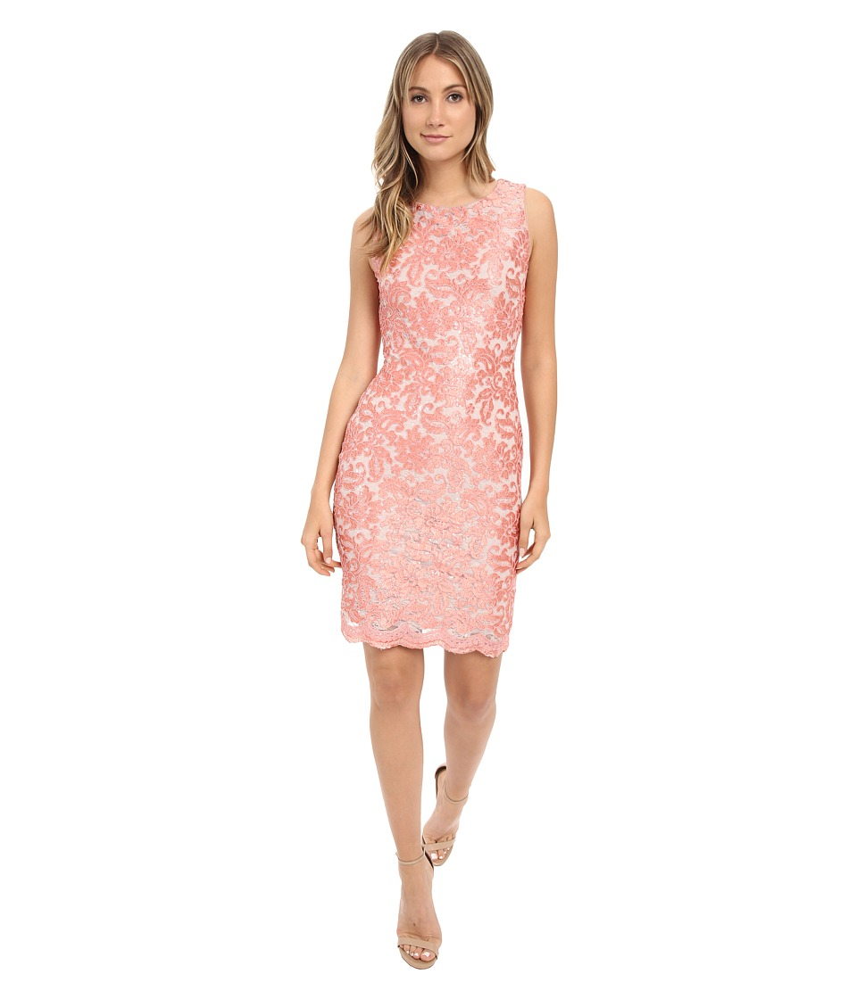 Calvin Klein Lace Sheath with Back Cut Out CD6B2P8V (Coral) Women