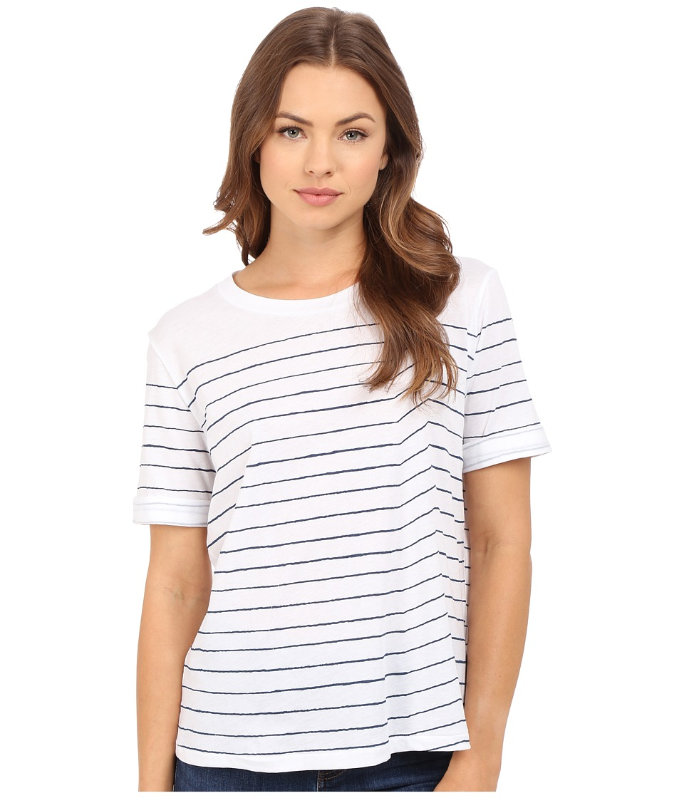 AG Adriano Goldschmied - Sonic Striped Tee (True White/Blue) Women's T Shirt
