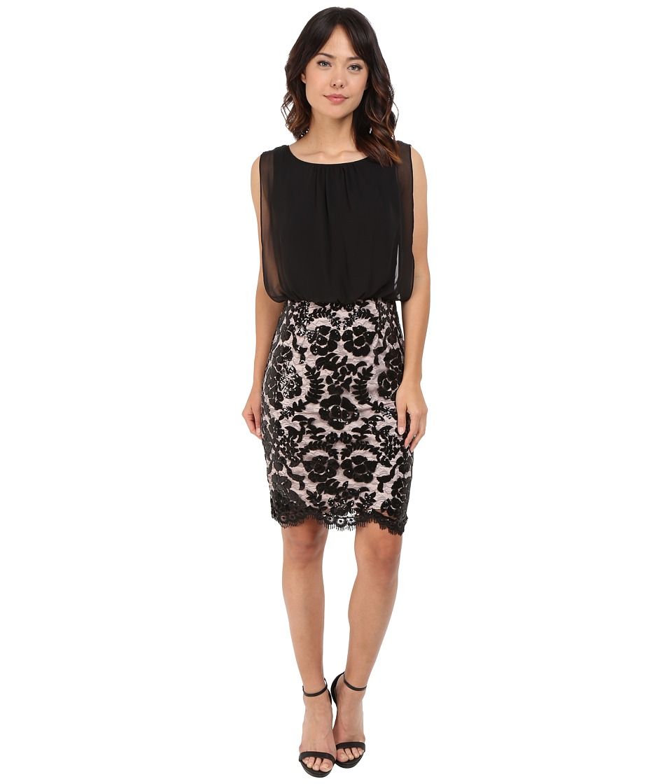 Calvin Klein - Blouson Bodice with Lace Skirt CD6B2V3Y (Black/Nude) Women's Dress