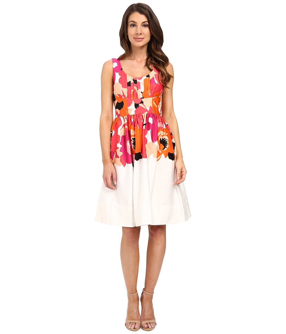 Calvin Klein - Printed Fit and Flare Dress CD6G2R6K (White/Watermelon Multi) Women's Dress