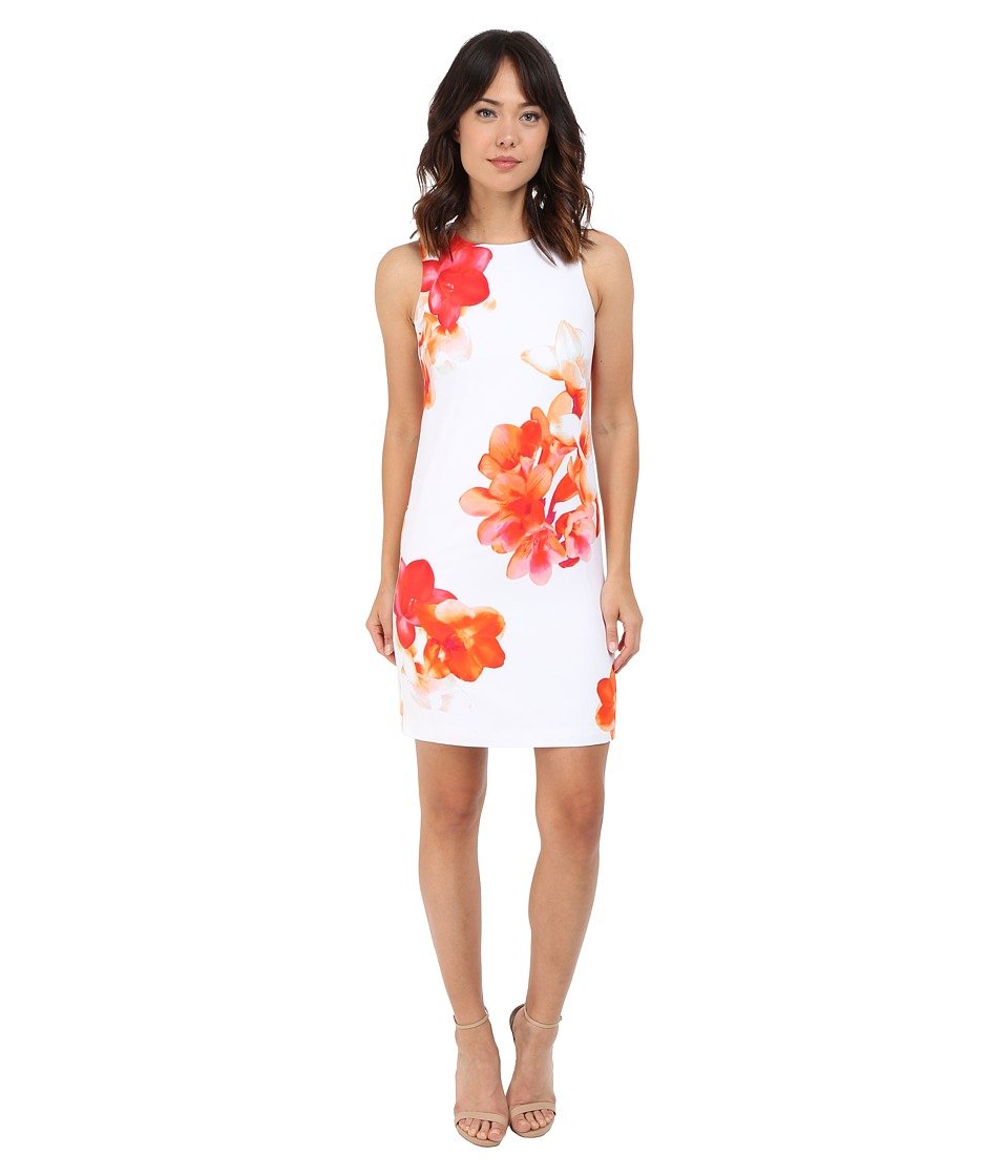 Calvin Klein - Sleeveless Floral Shift Dress CD6HAR8D (White Multi) Women