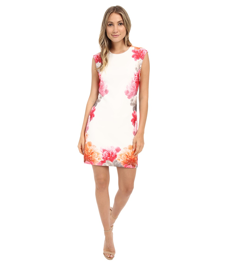 Calvin Klein - Border Print Floral Dress CD6M2L8U (White Multi) Women's Dress