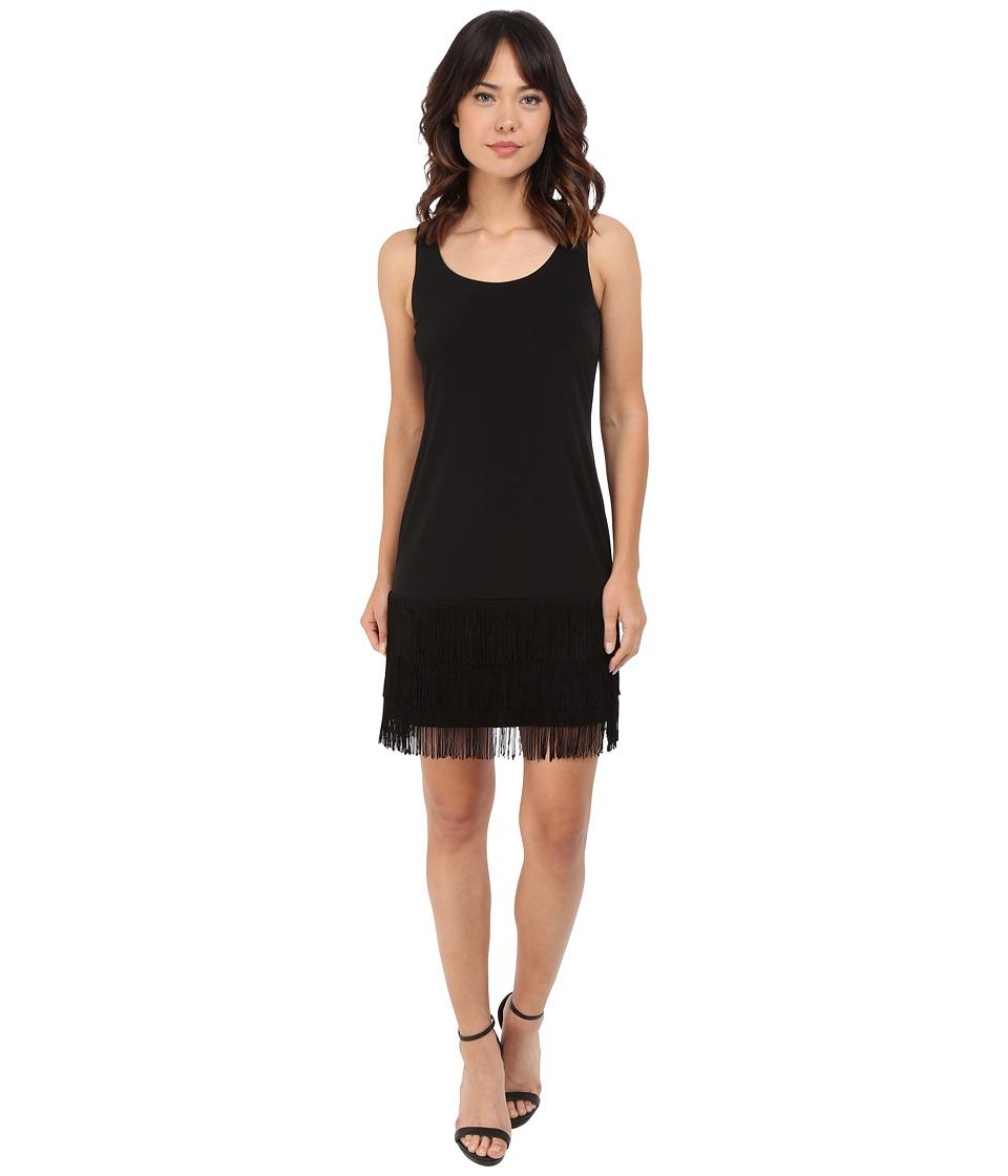 Calvin Klein Jersey Dress with Fringe Bottom CD6A1V2C (Black) Women