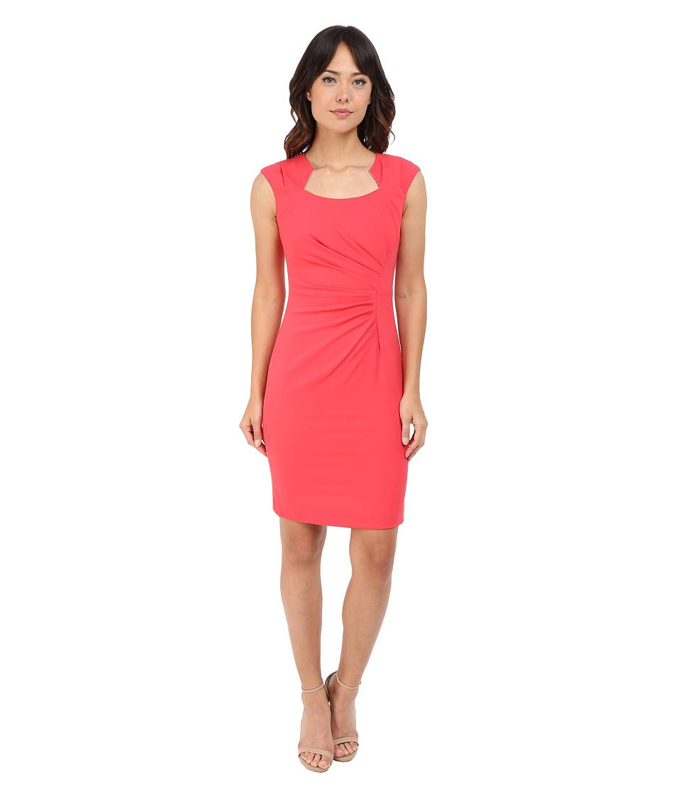 Calvin Klein - Cap Sleeve Ruched Sheath Dress (Watermelon) Women's Dress