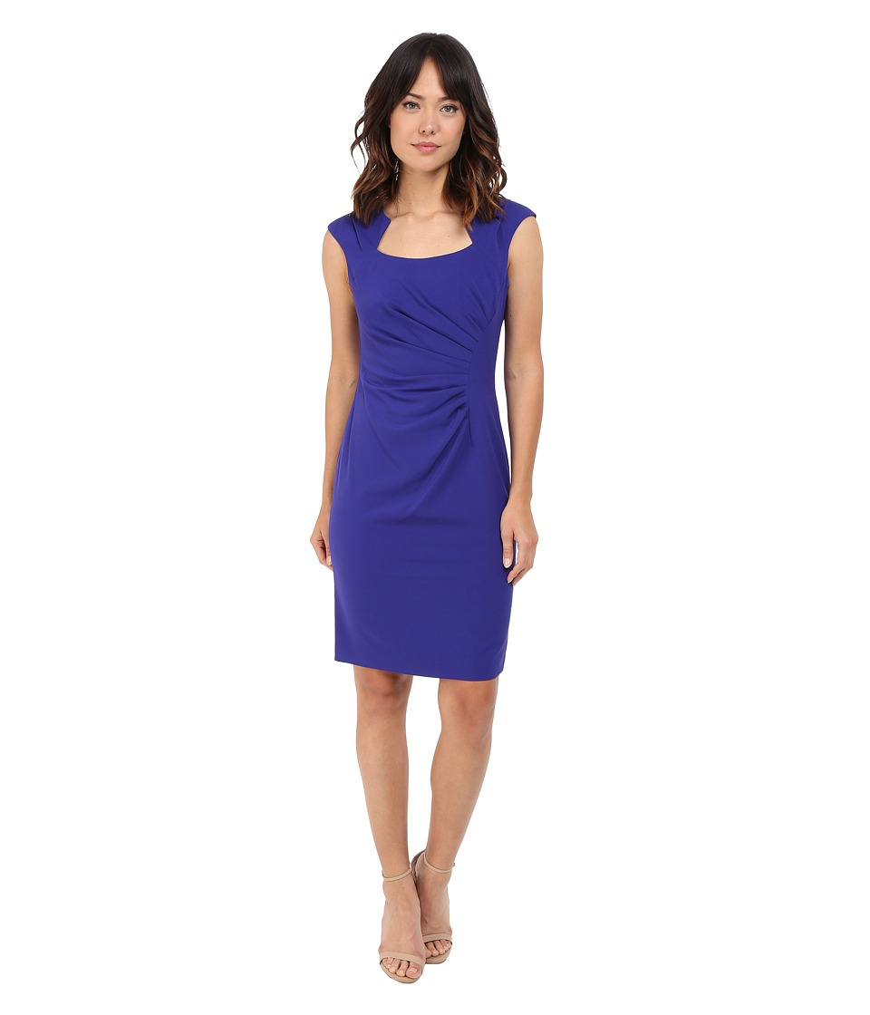 Calvin Klein - Cap Sleeve Ruched Sheath Dress (Byzentine) Women's Dress
