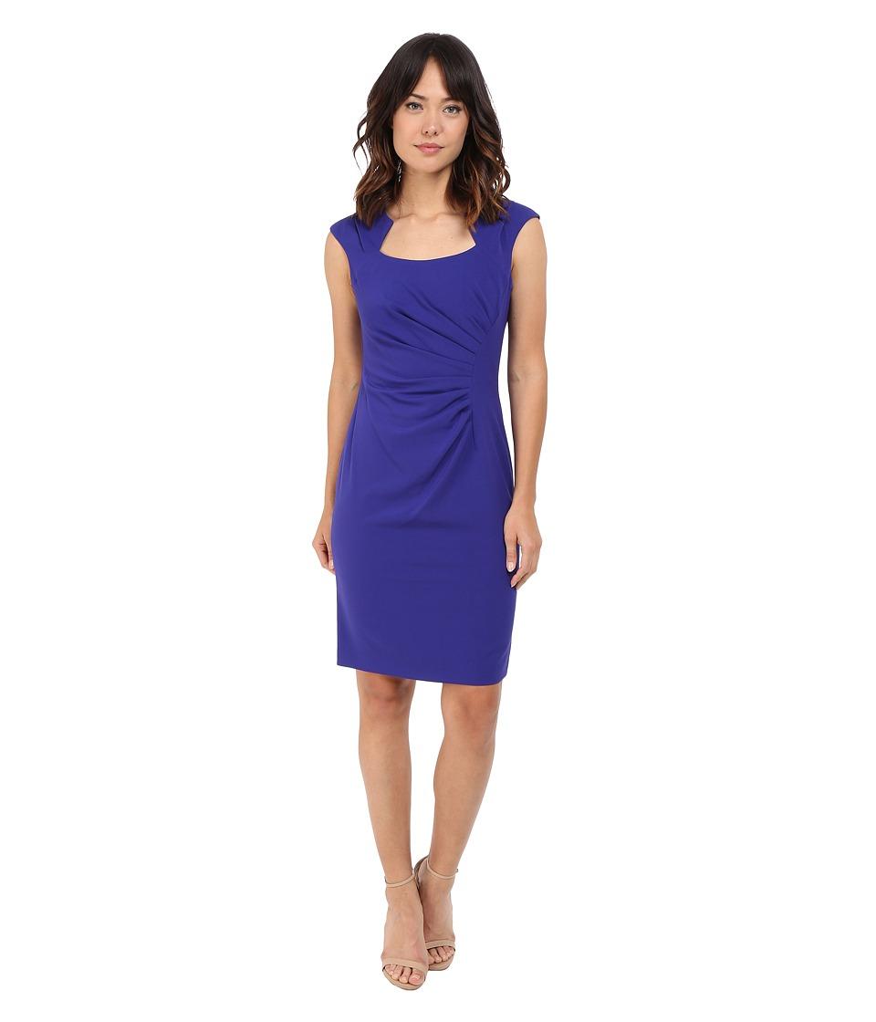 Calvin Klein Cap Sleeve Ruched Sheath Dress (Byzentine) Women