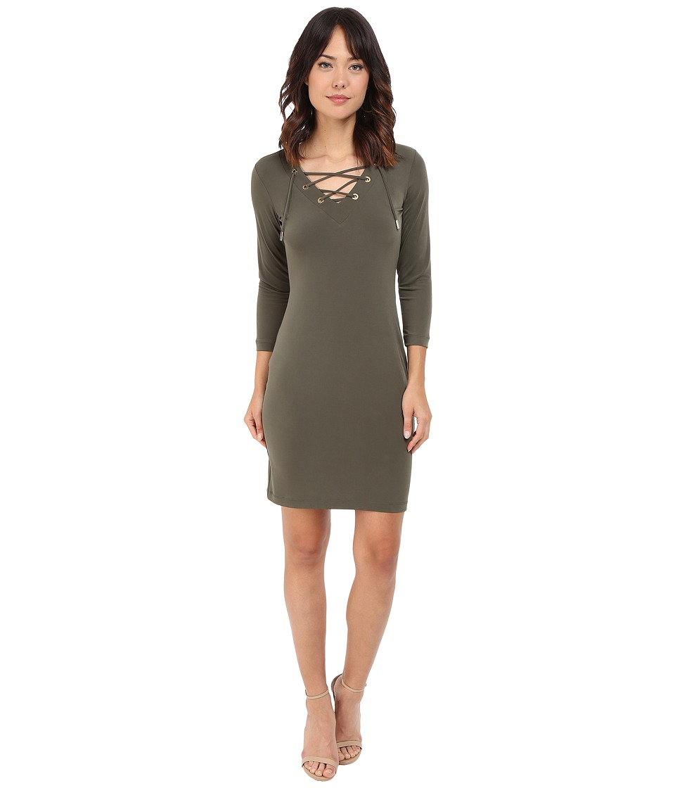 Calvin Klein - Lace-Up Shift CD5A1A1X (Olive) Women's Dress