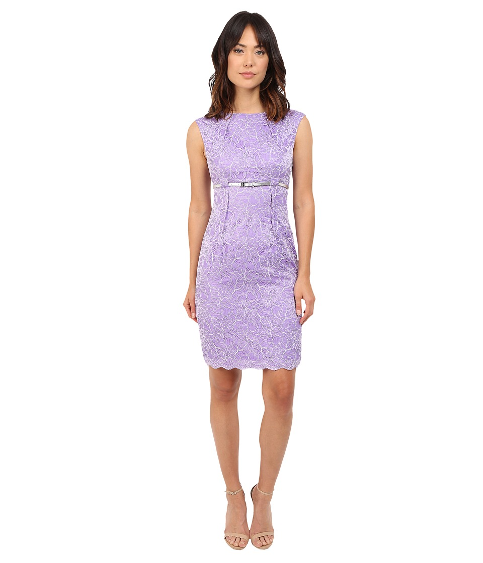 Calvin Klein - Lace Belted Sheath CD5LYBD6 (Iris/White) Women's Dress
