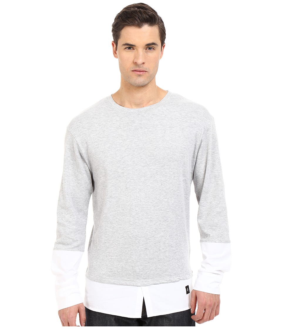 Akomplice - Jackie Long Sleeve Tee (Grey/White) Men's Long Sleeve Pullover