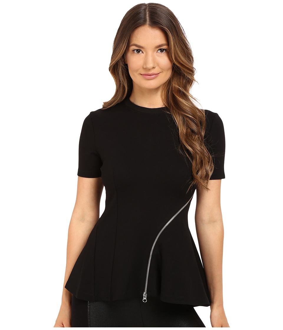 McQ - Ergonomic Zip Top (Darkest Black) Women's Short Sleeve Pullover