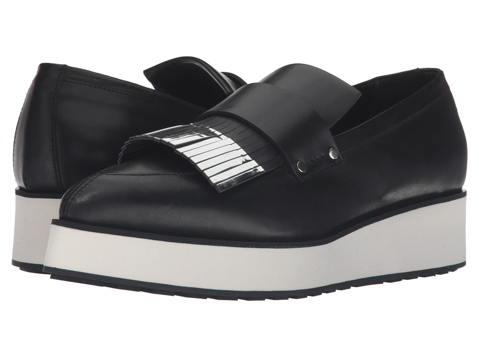 McQ - Manor Fringed (Black/Silver) Women's Slip on Shoes