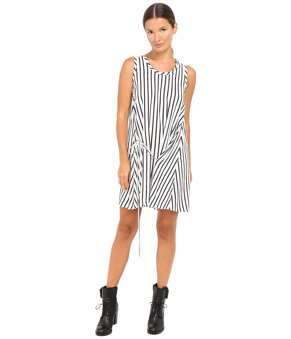 McQ - Knot Drape Dress (White/Black Stripe) Women's Dress