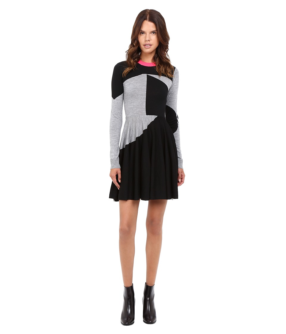 McQ - Colour Block Skater Dress (Black/Grey Melange) Women's Dress