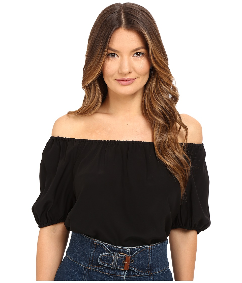 RED VALENTINO - Silk Crepe De Chine Off the Shoulder Blouse (Black) Women's Blouse